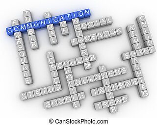 3d, image, communication, questions, concept, mot, nuage, fond