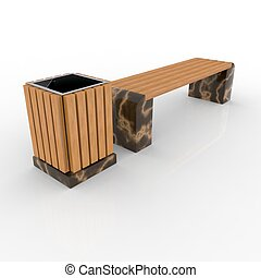 3d image complect of Euro1 bench and Avignon urn