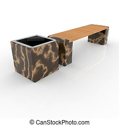 3d image complect of Euro1 bench and Carolina urn
