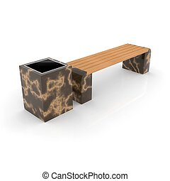3d image complect of Euro1 bench and Kil urn