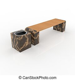 3d image complect of Euro1 bench and Quatro urn
