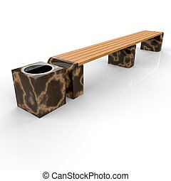 3d image complect of Euro1 line bench and Quadro urn