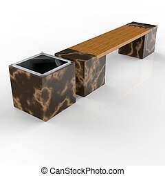 3d image complect of Euro2 bench and Carolina urn