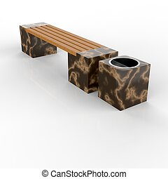 3d image complect of Euro2 bench and Quatro urn