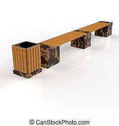 3d image complect of Euro2 line bench and Avignon urn