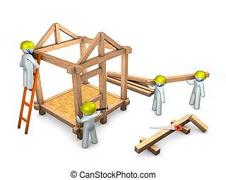3d image, conceptual, contruction site, teamwork