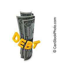 Debt - 3d image, conceptual Debt, isolated over white...