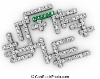 3d, image, crise, questions, concept, mot, nuage, fond