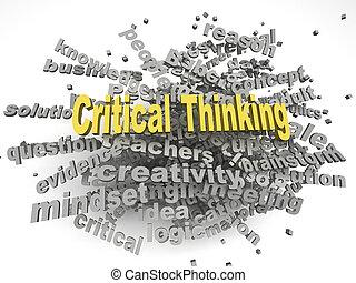3d, image, critique, pensée, questions, concept, mot, nuage, fond