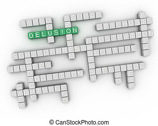 3d image Delusion issues concept word cloud background
