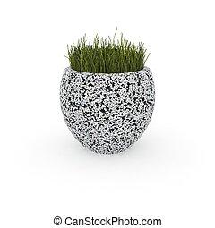 3d image flower pot concrete marble Belli