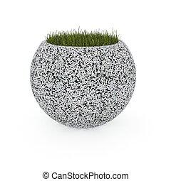 3d image flower pot concrete marble Globus