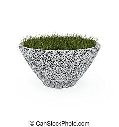 3d image flower pot concrete marble Jaz