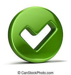 checkmark icon - 3d image. Green checkmark icon. Isolated...