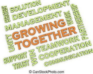 3d image Growing Together issues concept word cloud background