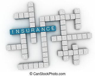3d image Insurance word cloud concept