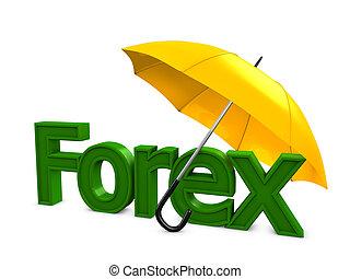 Forex umbrella - 3d image, Investment conceptual, Forex ...