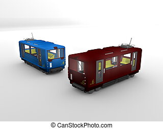3d image, isolate background Electric trains
