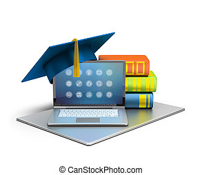 computer education - 3d image. Laptop, hat and books. The...