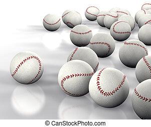 3D image many baseballs isolated on white