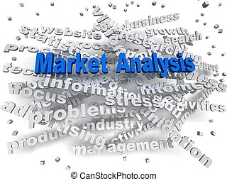 3d image Market Analysis word cloud concept