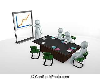 3d image, Meeting, table, staff, presentation, graph