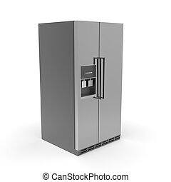 3d image of a color refrigerator with freezer 05