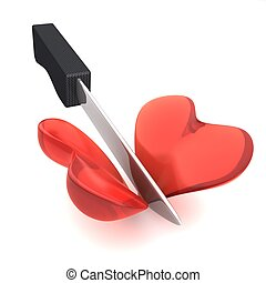 3d image of a knife cutting an heart isolated on white background