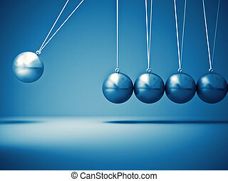 newton cradle - 3d image of classic newton cradle