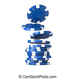 poker chips - 3d image of classic poker chips and green ...