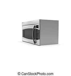 3D image of color microwave oven steel 05