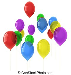 3d image of colorful balloons isolated on white background