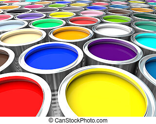 colorful paint can - 3d image of colorful paint can
