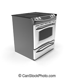 3d image of compact oven with induction cooktop 05