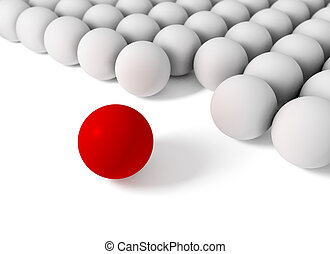 3d image of concept of difference with balls