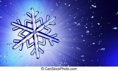 3d image of crystal snowflake against blue background