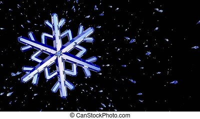 3d image of crystal snowflake against black background. 3d...