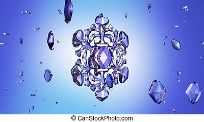 3d image of crystal snowflake against blue background. 3d...
