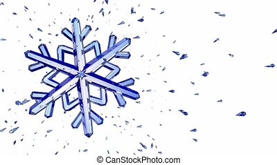 3d image of crystal snowflake against white background. 3d...