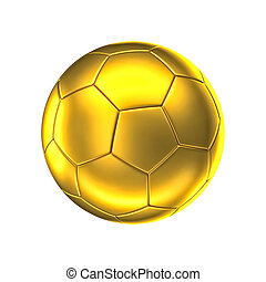 golden soccer ball - 3d image of golden soccer ball