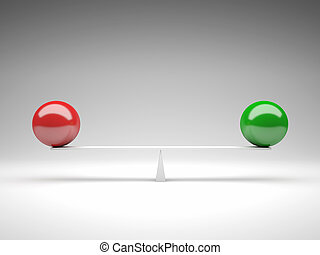 balance - 3d image of green and red ball on balance