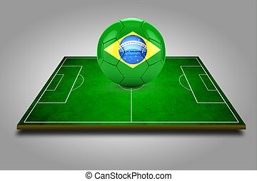 3d image of green soccer field and soccer-ball with brazil logo on it