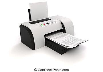 3d image of home printer and documents