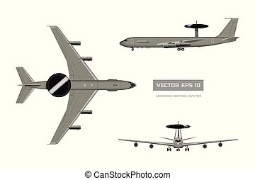 3d image of military aircraft. Top, front and side jet view....