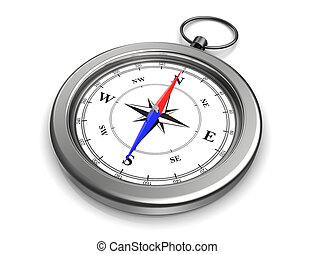 pocket compass - 3d image of pocket compass with clipping...