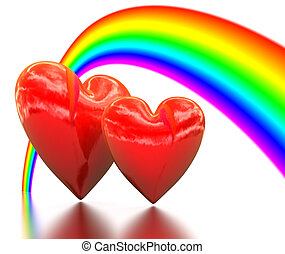 Rainbow above a two bound hearts - 3d image of Rainbow above...