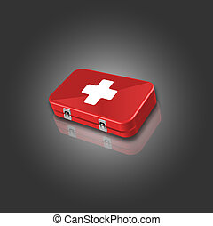 image of red first aid box - 3d image of red first aid box...