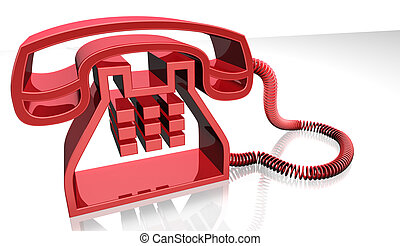red telephone - 3d image of red telephone isolated in white