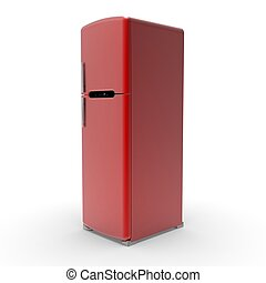 3d image of Retro refrigerator on a white background 05