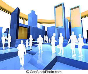 3D image of the city and people